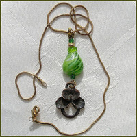 Lampwork Pendant Drop Shape Glass Beads, Handmade Lampwork  Pendant Green White OOAK