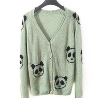 Green V-neck Long-sleeved Crochet Panda Cardigan$39.00