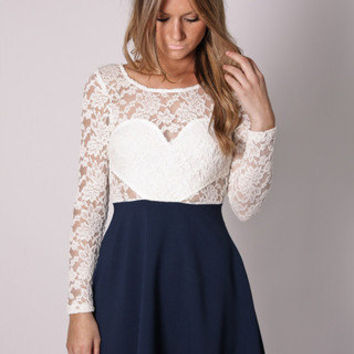 PRE ORDER unicorn lace detail tunic- navy/creme lace arrives 25th september at Esther Boutique