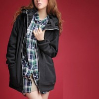 Women Hooded Zip Long Sleeve Black Cotton Free Size Outfit@A8020