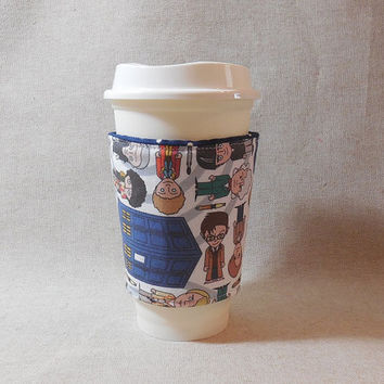 Slip-On Coffee Cozy Made With Dr. Who Inspired Fabric