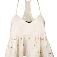 Faille Brodee Peplum Strappy Top