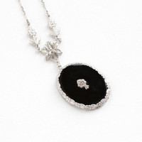 Antique Art Deco Simulated Onyx & Rhinestone Floral Lavaliere Necklace - Sterling Silver Flower Filigree 1920s 1930s Jewelry