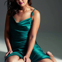 Green Satin Nightgown Midi Length Backless New by NaughtyNaughty