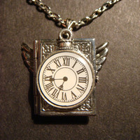 Victorian Style Steampunk Locket Necklace with Pocket Watch Charm and Wings