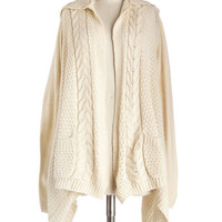 ModCloth Mid-length Long Sleeve Hoodie Early Morning Date Cardigan in Oatmeal