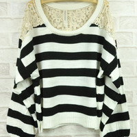 White Lace Stripe Sweater $38.00