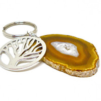 Agate keychain, tree of life keychain, stone key chain, gift for her, unisex gift, holiday gift