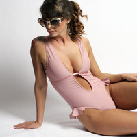 ON SALE full piece swimsuit for women with plunging by sandmaiden