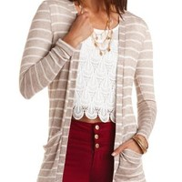 Tunic-Length Striped Cardigan by Charlotte Russe - Taupe Combo