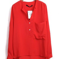 Single Pocket Long Sleeve Shirt Red$38.00