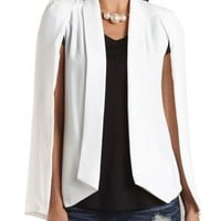 Crepe Cape Blazer by Charlotte Russe - Ivory