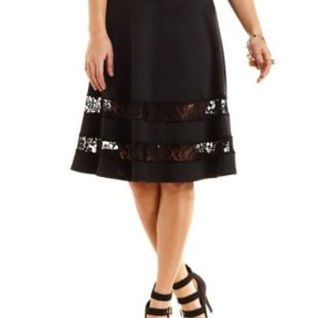 Lace-Trim Full Midi Skirt by Charlotte Russe - Black