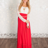 (Pre-Sale) White and Red Christmas Party Lace Maxi