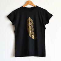 Gold T shirt for Women / Fashion T shirt with Gold Feather / Womens Tshirt / Black Gift for Her