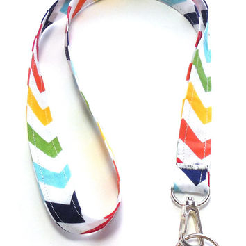 Primary Colors Chevron Stripe Fabric Lanyard, ID Badge,Cell Phone, Key Holder