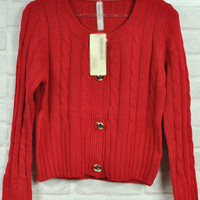 Red Twist Cardigan Sweater $39.00
