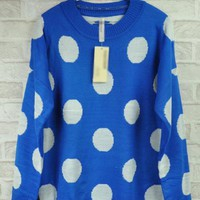 Blue Bat Sleeve Medium Style Upset Sweater $39.00