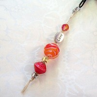 Macrame Zipper Pull with Orange and Love beads, by Jan4insight on Zibbet