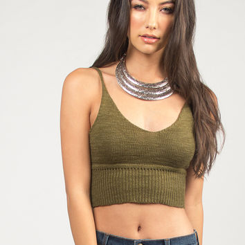 Knit Cropped Cami - Olive - Olive /
