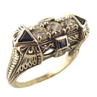 Art Deco Style Sterling Silver Filigree Cubic Zirconia & Sapphire Ring (sz7): Jewelry