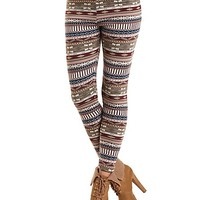Fur-Lined Geometric Print Leggings by Charlotte Russe - Wine Combo