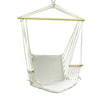 "Adeco Hammock Chair Tree Hanging Suspended Outdoor Indoor Bed, Natural Color, 63"" Wide"