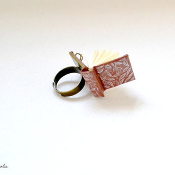 Tiny Orange Rust Book Ring with White Leaves.  Adjustable ring
