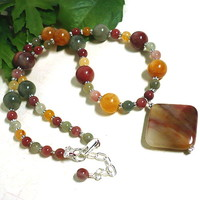 Fancy Quartz and Oregon Picture Jasper Gemstone Adjustable Necklace