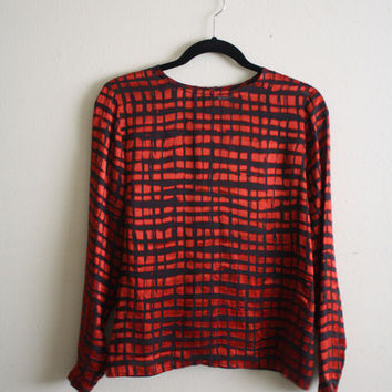 YSL Enore Silk Checkers Red and Black Long Sleeve Sheer Blouse size S/M from R+E