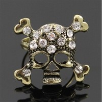 Skull adjustable rhinestone ring
