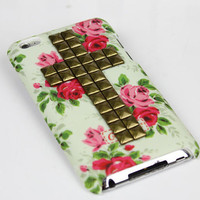 Bronze Stud And rose Hard Case Cover for Apple Ipod Touch 4, iPod Touch 4th,iTouch 4,iPod Touch 4gen Hard Case Cover