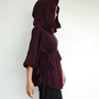 NO.75   Plum Cotton-Blend Zip Front Hooded Poncho Sweater