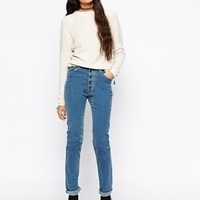 Your Eyes Lie High Waisted Open Button Skinny Jeans
