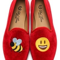 #BeeHappy Embroidered Loafers