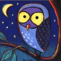 Whimsical Original Oil Owl Painting 4x4 inches on Panel