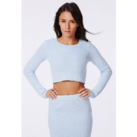 Missguided - Casey Knitted Scoop Neck Crop Top Pale Blue