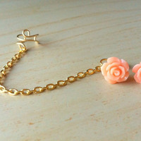 Peach resin mini rose bud ear stud with gold ear cuff chain earring 10mm