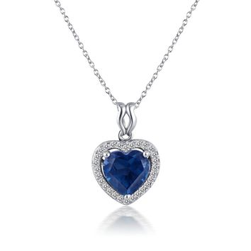 Magic Pieces Sterling Silver Pendant with Faceted Heart Shape London Blue Topaz and CZ J1122