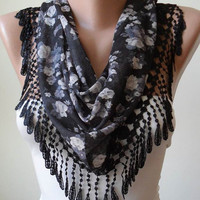 Black and Grey Flowered Scarf with Black Trim Edge