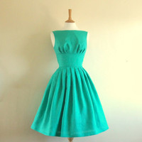 Turquoise Linen Tiffany Prom Dress - made by Dig For Victory