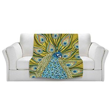 Blanket Ultra Soft Fuzzy Fleece from DiaNoche Designs Home Decor Unique, Cool, Fun, Funky, Designer, Artistic, Stylish Bedroom and Bathroom Ideas Couch or Throw blanket by Valerie Lorimer - The Peacock