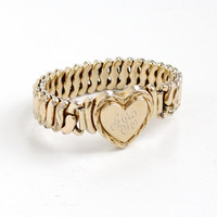 Vintage Gold Filled Monogrammed Heart Locket Expansion Bracelet - Mid Century WWII 1940s Stretch Sweetheart Jewelry Hallmarked Carl Art