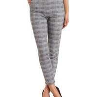 Houndstooth Tapered Trousers by Charlotte Russe - Black/White