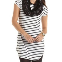Striped Shift Dress with Rounded Hem by Charlotte Russe - Ivory Combo