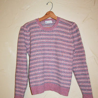 Vintage 80s Sweater Pullover Sweater Pastel Striped Sweater Pink and Blue Sweater Shetland Wool Sweater by Aston Wool Sweater Size 38 Jumper
