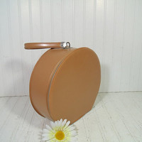 Vintage Camel Tan Vinyl with Metal Zipper Round Suit Case - Mid Century Doll & Child Size Lovely Traveling Bag - BoHo Carry On Train Luggage