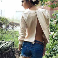 Pencey Open Back Embroidered Silk Sweatshirt in Blush