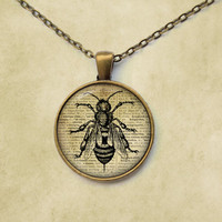 Insect necklace Vintage jewelry Wasp pendant