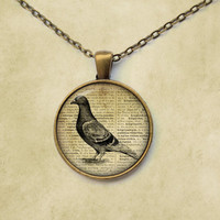 Pigeon pendant Bird necklace Vintage jewelry